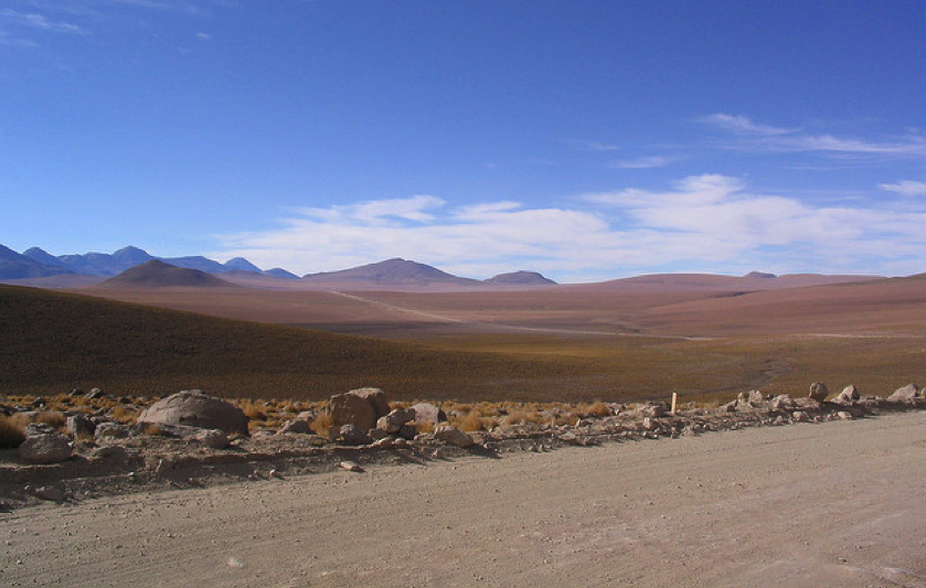 Atacama desert in Chile, one of the places on earth with the highest solar radiation and minimal cloud cover.